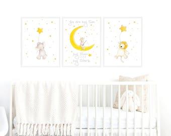 Baby Wall Art,New Baby Art,Set Baby Picture,Nursery Art,Elephant
