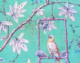 100% Cotton Fabric  Panel Vintage Style  Bird on the Swing ready Fabric Panel Quilting fabric DIY Craft Panel