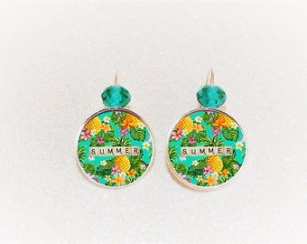 Earrings sleepers silver cabochon tropical flowers Summer pineapple will show.