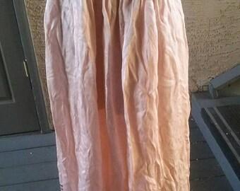 Georgous antique Victorian peach satin petticoat skirt, metalic gold thread hem detail