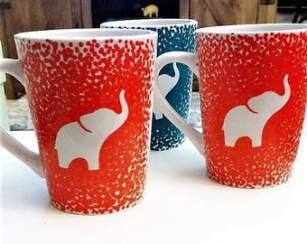 Good Luck Elephant Mug, Elephant Coffee Mug, Elephant Luck, Hand Painted Mug, Gold Elephant Gift, Gold Mug, Painted Elephant, Coffee Gift