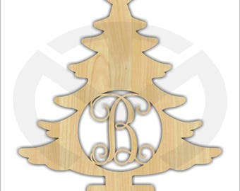 Christmas Tree with Initial, Unfinished Wood, Laser-Cut, Personalized, Christmas Wall/Door Decor, Various Sizes