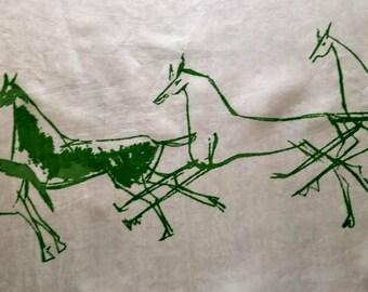 Vintage silk art scarve stylized Horses