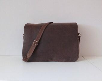 Hobo leather bag vintage 1980's Handmade Leather Messenger bag, shoulder bag, unisex bag