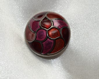 button sewing, cloisonné, round, 28 mm bordeaux