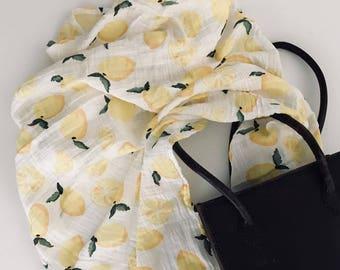 Muslin Swaddle Blanket   Lemon Swaddle   Lemon Blanket   Fruit Wrap   Baby Shower Gift