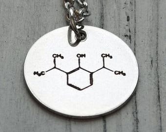 Custom Molecular Structure  Personalized Engraved Necklace