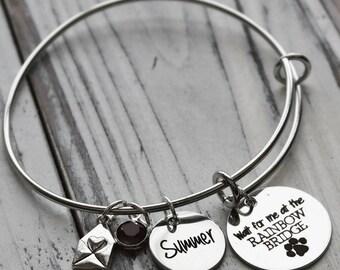 Rainbow Bridge Pet Memorial Personalized Wire Adjustable Bangle Bracelet