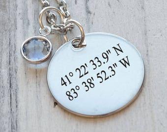 Coordinates Latitude Longitude Personalized Engraved Necklace