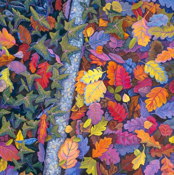 Borderlands , original painting of autumn leaves in acrylic