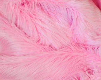 Bubblegum Pink Fur FREE SHIPPING Fabric in Craft Squares- Pink Fur Fabric, Pink Fake Fur, Carnation Pink Faux Fur,Pink Fake Fur