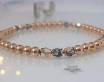 Rose Gold Bracelet, Crystal Bead Bracelet, Rose Gold Stretch Bracelet, Swarovski Crystal Beaded Jewellery, Womens Gift, Stacking, Handmade