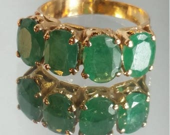 ON SALE 14K Solid Yellow Gold Natural Columbian Emerald Handmade Ring Retro Vintage