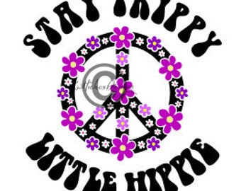 Hippy Svg, Dxf For Silhouette, Peace Sign Svg, Flower Peace Sign Svg, Stay Trippy Svg