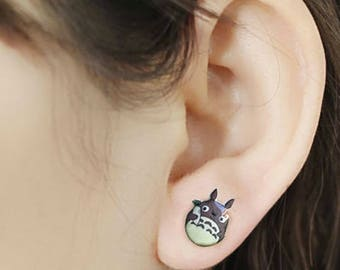 Totoro Earrings for Women Girl, Stud Earrings, Cartoon Anime, Silver Needle, Handmade Fashion, Jewelry Japanese Style