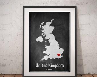 United Kingdom Map, England Map Print, Great Britain Map Print, City Print, Chalkboard Print, Country Print, Custom Map