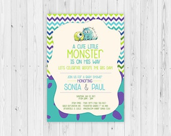Monsters Inc, Monsters Inc Baby Shower Invitations, Baby Shower, Monsters Inc Party Theme, Monsters Inc Party