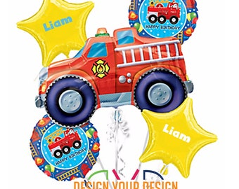 Personalized Fire Engine Theme Mylar Balloons!!