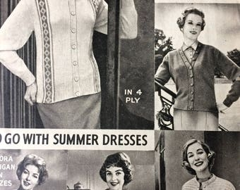 Vintage knitting pattern 1950's Women's Weekly Knitted Cardigans and Jackets to go with Summer Dresses 4-ply multi size