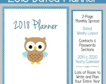 2018 Dated Weekly Planner: Instant Download