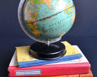 Small Vintage French Metal World Globe Map Mid Century Carte Taride 1940s