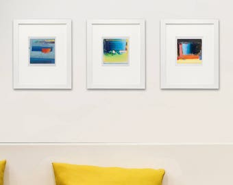 "Set of 3 Abstract Giclee Prints, Yellow, Light Blue, Magenta, Cyan, Red, Orange, 4x4""Print, Contemporary wall art, Abstract Print Collection"