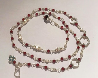 Natural Garnet bracelet/necklace handmade with sterling silver wire and sterling silver beads