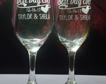 Personalized Wedding or Engagement Gift Best Day Ever 13 oz Wine Glasses   Engagement Gift   Wedding Couple Gift   Bridal Shower Glass Set