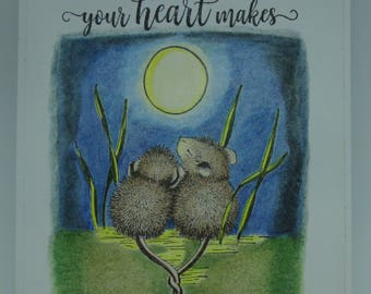 Anniversary Card.  House Mouse Design.  A Dream is a Wish Your Heart Makes.