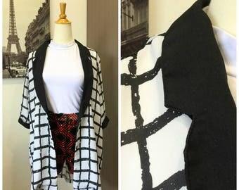 90s Vintage Checkered Black White Collared Blazer Jacket Coat