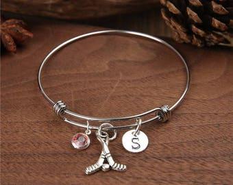 Field Hockey, Bangle Bracelet, Field Hockey Team Gift, Adjustable Bracelet, personalized bracelet, Birthstone bracelet, monogram bracelet