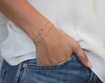 Karma Circle Bracelet • Gold Chain Bracelet • Gold Circle Bracelet • Gift for Her