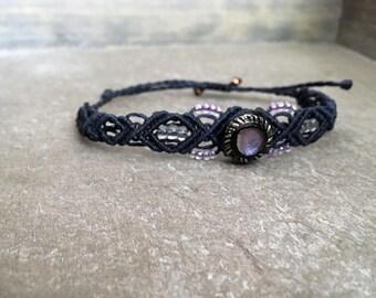 Navy blue Bracelet with Vintage Lilac glass button