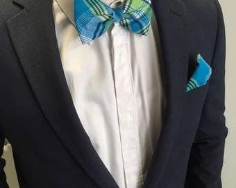 Bow tie for men Madras blue