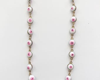 White & Pink Eye Layering Chain