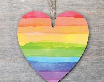 Wooden Rainbow Heart, Rainbow gift, Pride, Rainbow.