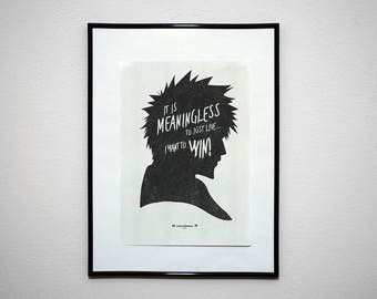 It's Meaningless To Just Live - Kurosaki Inspirational Minimalist Anime Poster Print.