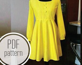 yellow morton salt girl inspired dress pdf pattern adult sizes 2 4