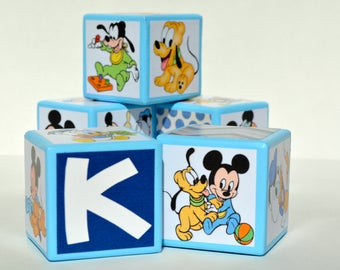 Baby Mickey Mouse Blocks-Personalized Mickey Mouse Birthday-Personalized Wooden Blocks-Personalized Baby Blocks-Baby Shower Blocks
