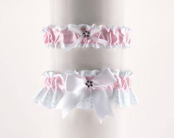 Wedding garter set, bridal garter set, white pink lace wedding garter, satin lace wedding garters, wedding lingerie, plus size garter 04g