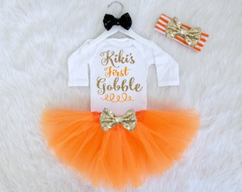 First Gobble Baby Thanksgiving Outfit. Thanksgiving Tutu Outfit Set. Baby Girl Thanksgiving Outfit. Babys First Thanksgiving Outfit Set.
