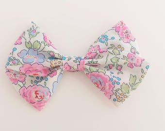 Liberty of London Pink Floral Hand Tied Fabric Bow Clip or Nylon Headband / Sailor Bow Clip / Red Floral Hand-Tied Bow / Floral Bow Headband