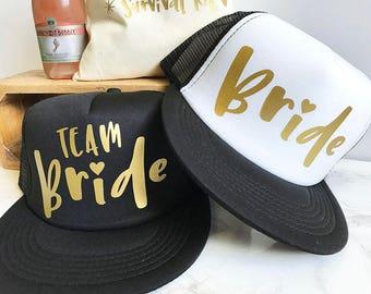 READY TO SHIP! Bride Hat & Team Bride Hats | Bachelorette Hats | Bridesmaid Hat | Bridal Party Hats | Bride Tribe Trucker Hats