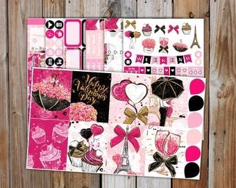 Valentines Cheer in Paris  Planner Sticker DELUXE Kit (7 pages) | VALENTINES Planner Sticker Kit | for use with Erin Condren LifePlanner