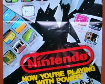 Vintage Nintendo.Video Game.Poster.Insert.80s.Collectible.Retro game.Japan.Nintendo.Vintage toy.Nintendo Poster.Printed in Japan.Game.Rare.