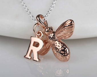 18ct Rose Gold Vermeil Baby Bumblebee Necklace Personalised With A Rose Gold Cut Out Letter Charm