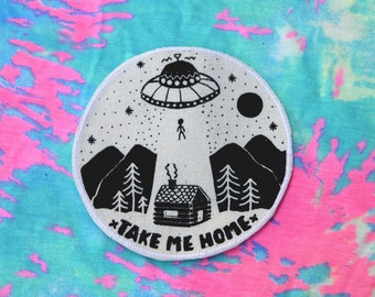 UFO Iron On Patch, Alien Abduction Patch, Take Me Home Canvas Patch