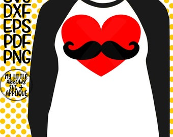 mustache heart svg - boy valentine svg cut - valentine svg -SVG, DXF, EPS, png Files Cutting Machines Cameo Cricut - valentine arrow