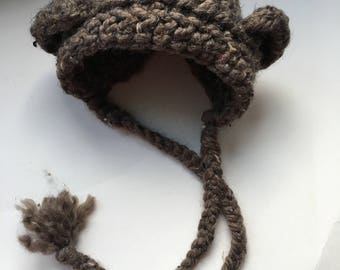 Bear bonnet. Newborn bear bonnet. Newborn baby bonnet. Baby bonnet. Baby bear bonnet. Baby hat. Bear hat. Ready to ship bear bonnet.