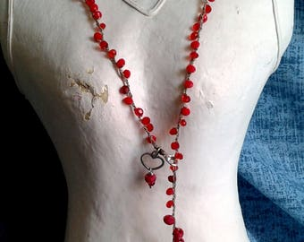 Average necklace, adjustable, boho chic, crochet, crystals, red, Black Cod. L28